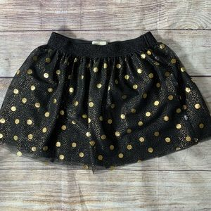 Kate Spade black Tulle Skirt Gold polka dots